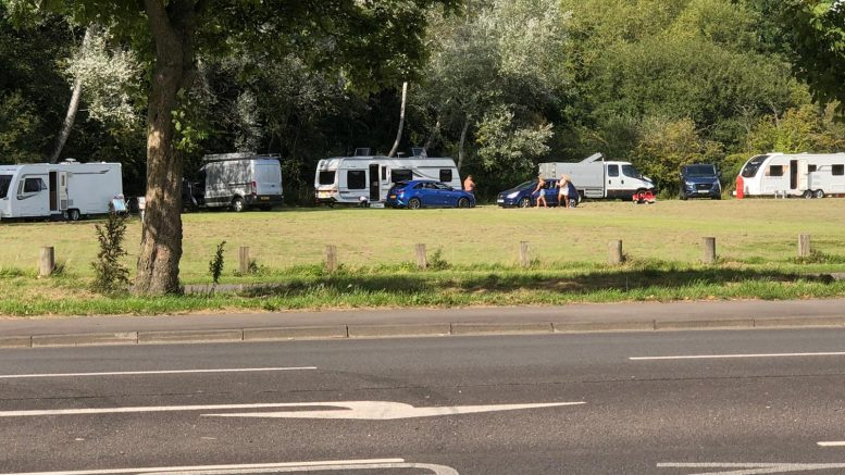 Man angry as travellers camp in Wootton Bassett Road grounds