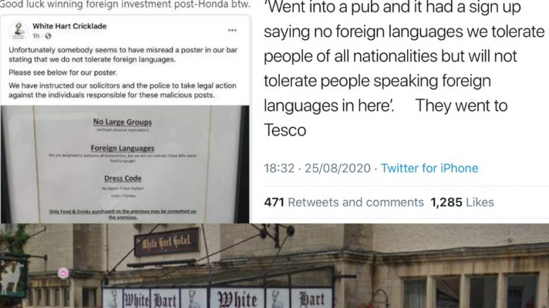 Misread pub sign over bad languagesparks racism row